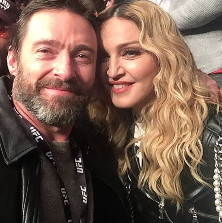 Madonna was spotted with Hugh Jackman at the fight [Photo: Instagram/thehughjackman]