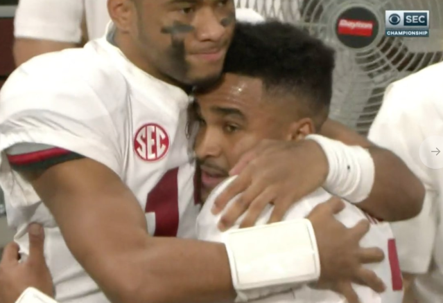 Tua Tagovailoa and Jalen Hurts embrace after the game. (via CBS)