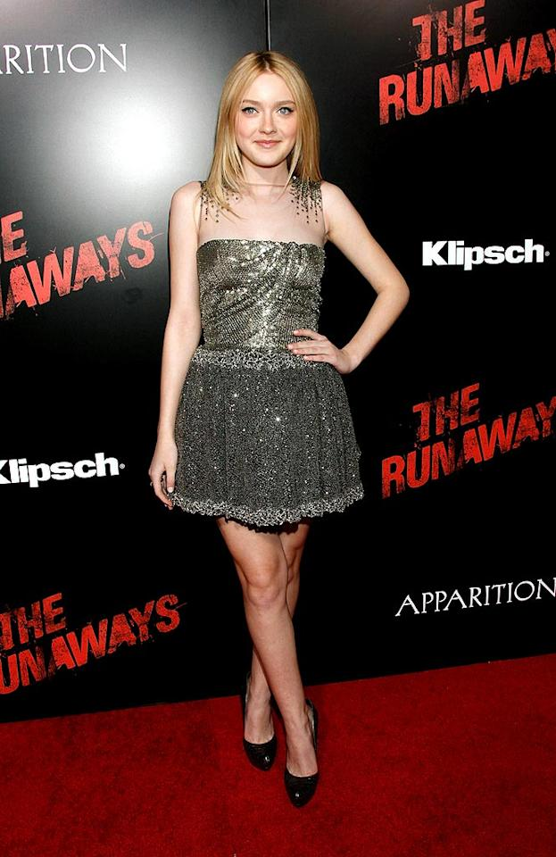 "Fellow Valentino fan Dakota Fanning rocked the red carpet at the premiere of ""The Runaways"" in one of the designer's signature sequined mini dresses. The tween titan completed her look with Ferragamo python heels and an age-appropriate 'do. Todd Williamson/<a href=""http://www.wireimage.com"" target=""new"">WireImage.com</a> - March 11, 2010"