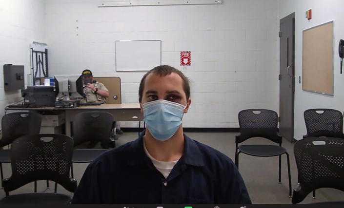 This image from video provided by the Coconino County Superior Court shows Mark Gooch as he appears virtually for a hearing in Coconino County Superior Court in Flagstaff, Ariz., on Thursday, Sept. 9, 2021. Gooch is accused in the death of a Sasha Krause who lived in a Mennonite community near Farmington, New Mexico. Her body was found outside Flagstaff, Arizona, in February 2020, more than a month after she disappeared. (Coconino County Superior Court via AP)