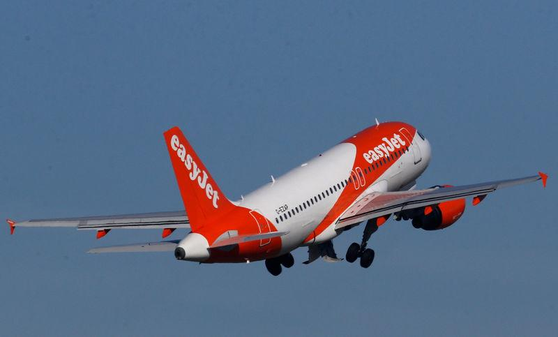 FILE PHOTO: A Easy Jet Airbus A319 plane takes off from the Nantes-Atlantique airport in Bouguenais near Nantes