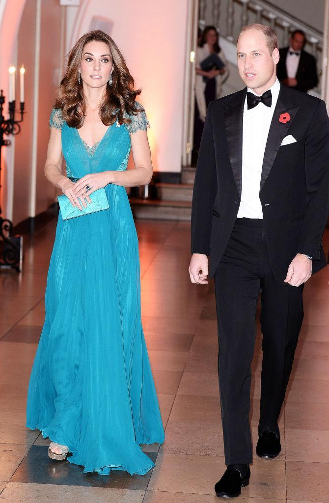<p>For the Tusk Conservation Awards on November 8, the Duchess recycled a blue Jenny Packham gown she first wore in 2012. <em>[Photo: Getty]</em> </p>