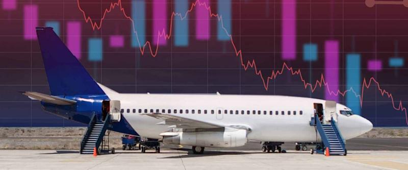 Falling charts next to the plane. Concept - shares fall airlines. Losses of airlines. Reduced demand for tickets. Concept - financial losses of aircraft manufacturers. Devastation. Bankruptcy