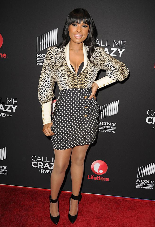 We applaud Jennifer Hudson's commitment to fitness. We don't, however, applaud her commitment to fashion faux pas that feature mismatched patterns and exposed undergarments. (4/16/2013)