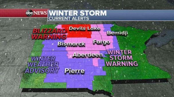 PHOTO: Some areas could see close to 3 feet of snow this weekend in the Dakotas. (ABC News)