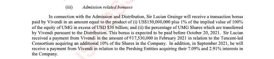 Sir Lucian Grainge's bonuses are set out within UMG's pre-listing prospectus