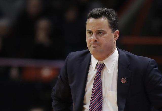 Arizona head coach Sean Miller during a first-round game against Buffalo in the NCAA men's college basketball tournament Thursday, March 15, 2018, in Boise, Idaho. Buffalo won 89-68. (AP Photo/Ted S. Warren)