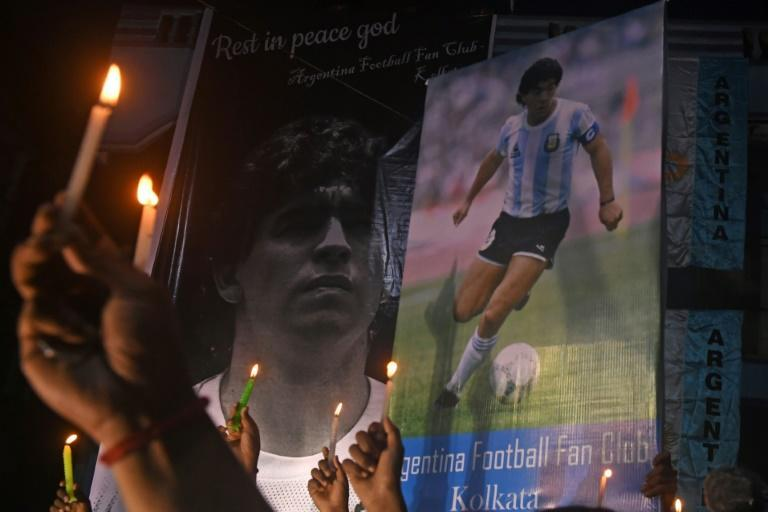 Indian fans pay homage to late Argentine football legend Diego Maradona in Kolkata