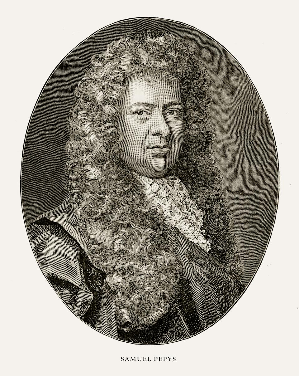 Very Rare, Beautifully Illustrated Antique Engraving of Samuel Pepys, English Victorian Engraving, 1887. Source: Original edition from my own archives. Copyright has expired on this artwork. Digitally restored.