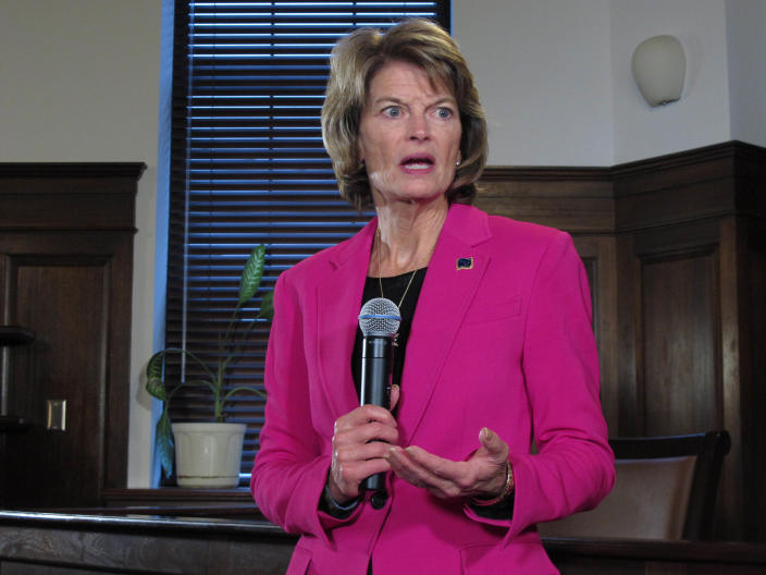 FILE - In this Feb. 18, 2020, photo, U.S. Sen. Lisa Murkowski speaks with reporters in Juneau, Alaska. Murkowski, a Republican, has not said whether she will seek re-election in 2022, but Alaska Department of Administration Commissioner Kelly Tshibaka announced plans on Monday, March 29, 2021, to enter the race as a Republican. (AP Photo, File/Becky Bohrer)