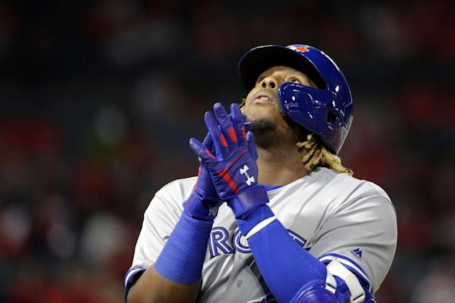 Blue Jays third baseman Vladimir Guerrero Jr. played his first game in Anaheim on Tuesday. (AP Photo)