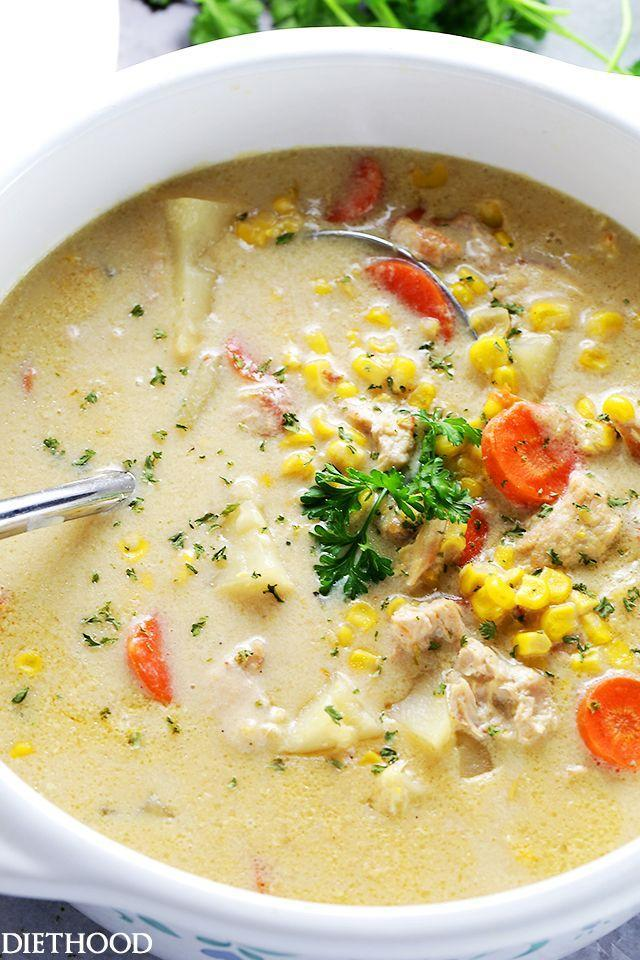 """<p>After a super heavy meal, soup is there for you.</p><p>Get the recipe from <a href=""""http://diethood.com/turkey-corn-chowder/"""" rel=""""nofollow noopener"""" target=""""_blank"""" data-ylk=""""slk:Diethood"""" class=""""link rapid-noclick-resp"""">Diethood</a>.</p>"""