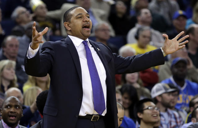 FILE - In this Friday, March 7, 2014, file photo, Golden State Warriors coach Mark Jackson gestures from the sideline during the second half of an NBA basketball game against the Atlanta Hawks in Oakland, Calif. The Warriors fired Jackson on Tuesday, May 6, 2014. His three seasons with the Warriors will be remembered for the way he helped turn a perennially losing franchise into a consistent winner and the bold and bombastic way in which he did it. (AP Photo/Ben Margot, File)