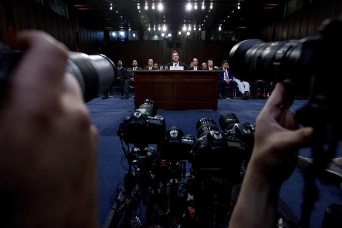 <p>Former FBI director James Comey speaks during a Senate Intelligence Committee hearing on Capitol Hill, June 8, 2017, in Washington. (Photo: Andrew Harnik/AP) </p>
