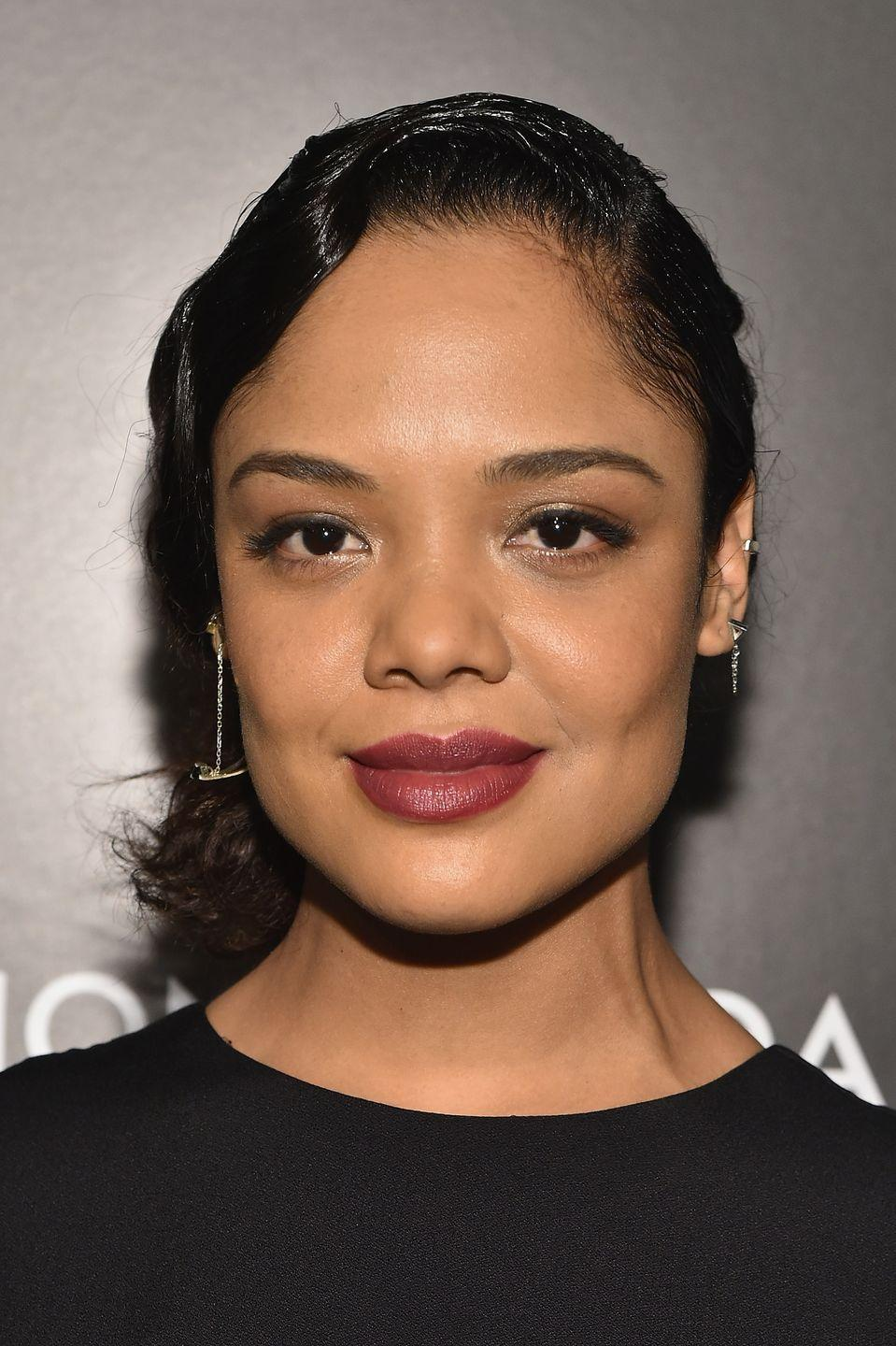 """<p>Go back in time with this more formal pinned hairstyle worn by <strong>Tessa Thompson</strong>. Styled like the flapper dancers of the 1920s, slick one side of hair over to the opposite side of the head and secure with pins to achieve the look. </p><p><a class=""""link rapid-noclick-resp"""" href=""""https://www.amazon.com/dp/B00E9SP888/ref=sspa_dk_detail_0?tag=syn-yahoo-20&ascsubtag=%5Bartid%7C10055.g.2471%5Bsrc%7Cyahoo-us"""" rel=""""nofollow noopener"""" target=""""_blank"""" data-ylk=""""slk:SHOP HAIR PINS"""">SHOP HAIR PINS</a></p>"""