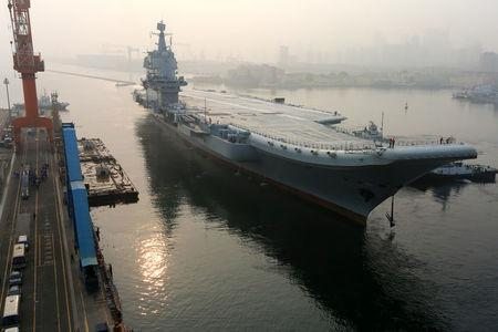 China's first domestically developed aircraft carrier departs Dalian, Liaoning province, China May 13, 2018. REUTERS/Stringer