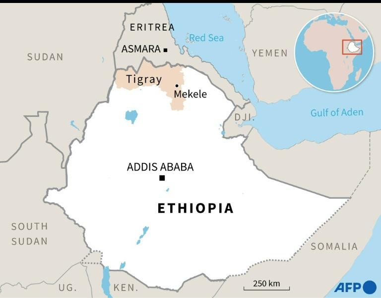Map showing the Tigray region of Ethiopia