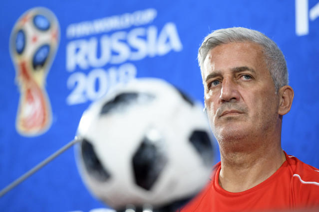 Switzerland's national team soccer head coach Vladimir Petkovic speaks during a press conference on the eve of the group E match between Switzerland and Brazil of the FIFA soccer World Cup 2018 at the Rostov Arena, in Rostov-on-Don, Russia, Saturday, June 16, 2018. (Laurent Gillieron/Keystone via AP)