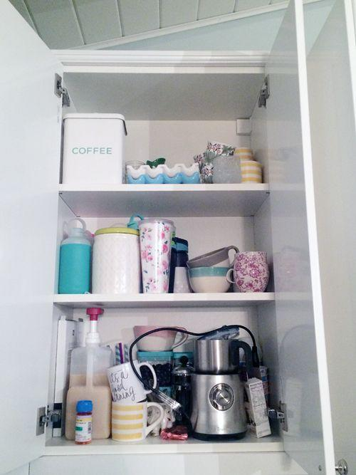 """<p>While it's handy that <a href=""""http://www.iheartorganizing.com/2015/11/organized-coffee-cabinet.html"""" rel=""""nofollow noopener"""" target=""""_blank"""" data-ylk=""""slk:this cabinet"""" class=""""link rapid-noclick-resp"""">this cabinet</a> housed all morning beverage accessories, mugs were strewn on every shelf, and random items made it hard to find the most important things, like the coffee beans! </p>"""
