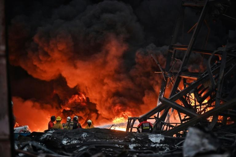 More than 17 hours after the explosion, the fire was still raging