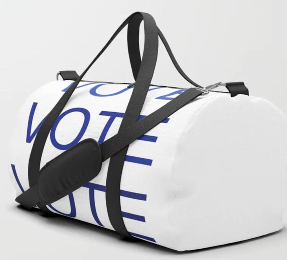 <p>Store your workout gear in this <span>Pulaski Shepherd Clothing and Supply Co. Vote Duffle Bag</span> ($40), sold on Society6.</p>