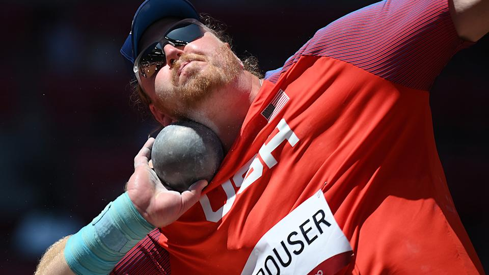 Team USA's Ryan Crouser set multiple new Olympic records on his way to shot put gold at the Tokyo Olympics. (Photo by Matthias Hangst/Getty Images)