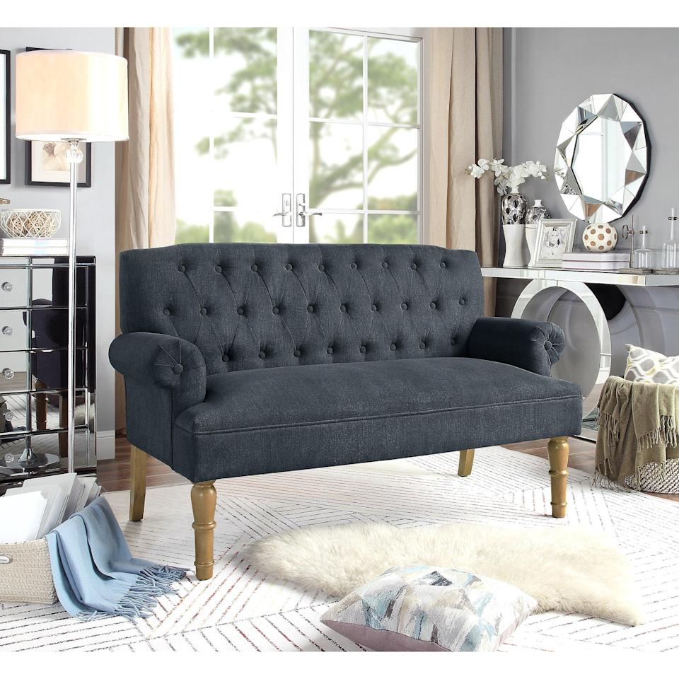"""<br><br><strong>Andover Mills</strong> Bjorn 59"""" Wide Rolled Arm Settee, $, available at <a href=""""https://go.skimresources.com/?id=30283X879131&url=https%3A%2F%2Ffave.co%2F34RnnEj"""" rel=""""nofollow noopener"""" target=""""_blank"""" data-ylk=""""slk:Wayfair"""" class=""""link rapid-noclick-resp"""">Wayfair</a>"""