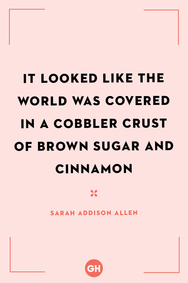 <p>It looked like the world was covered in a cobbler crust of brown sugar and cinnamon.</p>