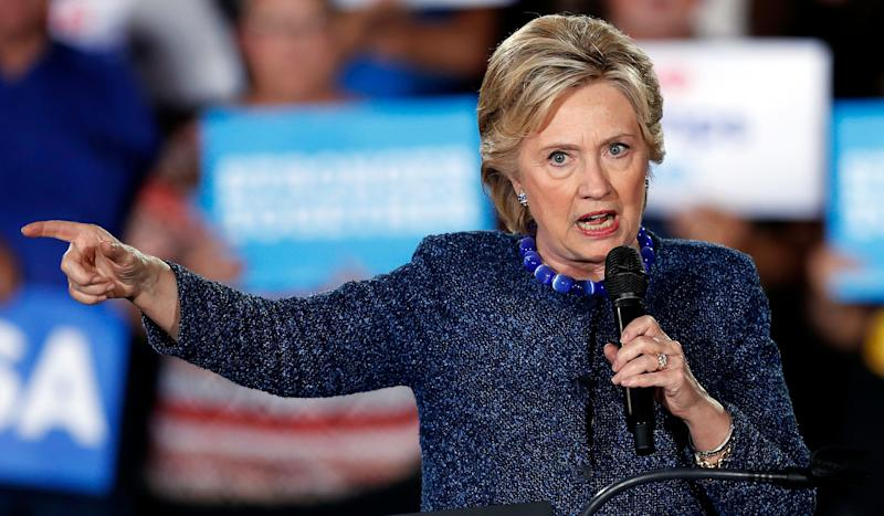 Democratic presidential candidate Hillary Clinton speaks during a rally in Des Moines, Iowa, in October 2016. (Photo: Charlie Neibergall/AP)