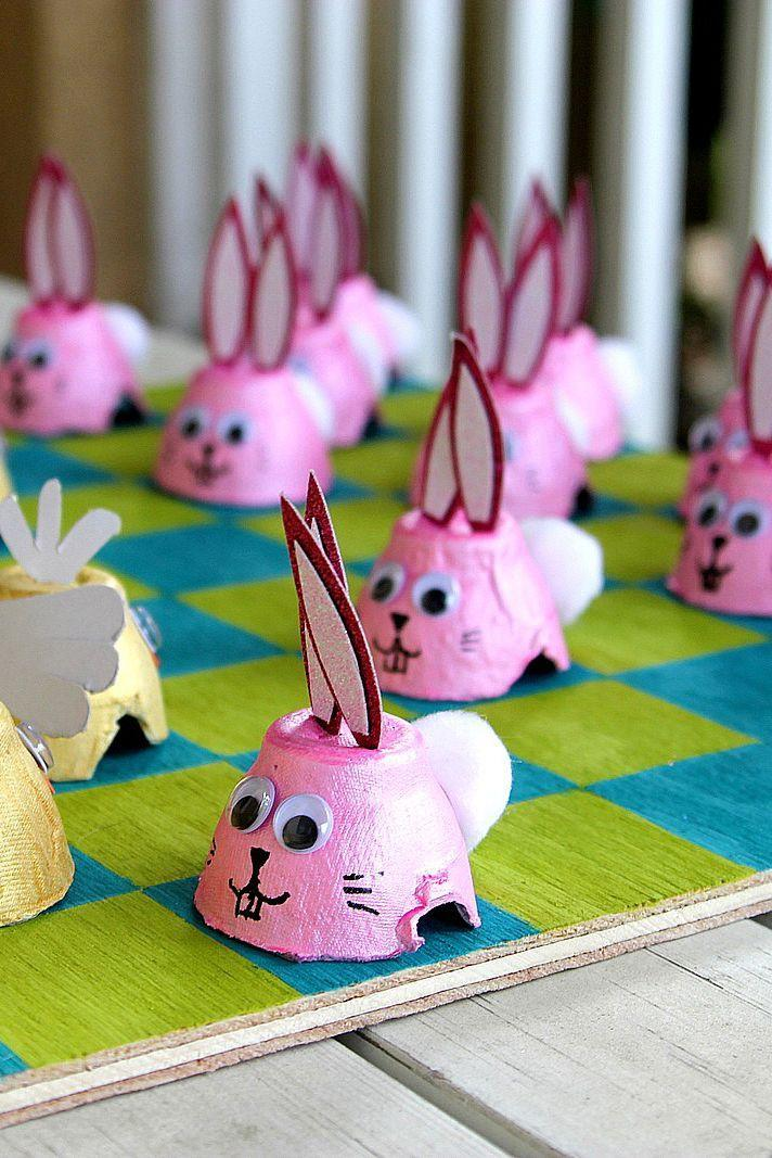 """<p>After you've dyed your Easter eggs, use the leftover cartons to craft this adorable DIY game set. </p><p><em>Get the tutorial at <a href=""""https://funfamilycrafts.com/easter-checkers/"""" rel=""""nofollow noopener"""" target=""""_blank"""" data-ylk=""""slk:Fun Family Crafts"""" class=""""link rapid-noclick-resp"""">Fun Family Crafts</a>.</em></p>"""