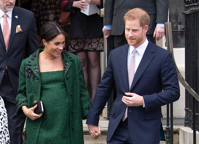Britain's Duchess of Sussex gives birth to a boy