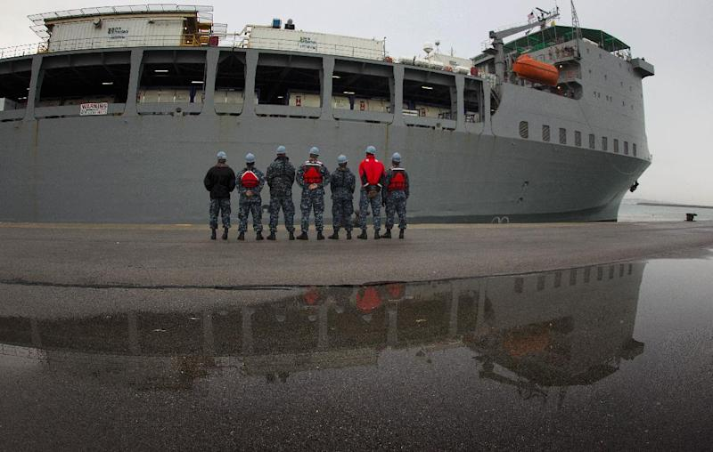 American ship MV Cape Ray arrives at Naval Station in Rota, Spain, on Thursday Feb. 13, 2014. The American ship arrived on Thursday at the naval base of Rota on Spain's southwestern coast used by the U.S. to resupply ahead of an unprecedented mission to collect and destroy mustard gas, raw materials for sarin nerve gas and tons of other highly toxic chemicals that form part of Syria's chemical weapons program. After leaving Spain, the Cape Ray's next port of call is expected to be Gioia Tauro in southern Italy, where experts from the Organization for the Prohibition of Chemical Weapons say it will take on board 560 metric tons of chemicals that have been transported from the Syrian port of Latakia in two cargo ships from Denmark and Norway. (AP Photo/Miguel Angel Morenatti)