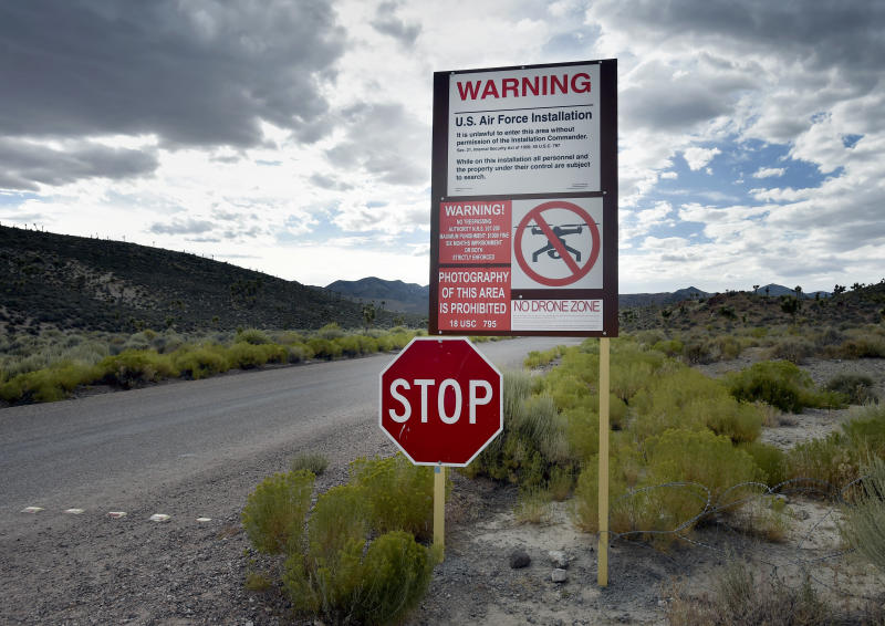 Sign warn travelers to not trespass onto Nevada Test and Training Range, otherwise known as Area 51. (Photo: Getty Images)