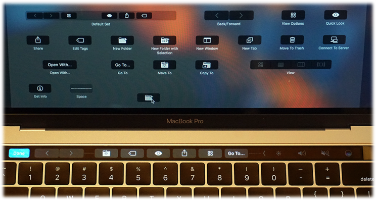 Drag buttons from the real screen to the Touch Bar.