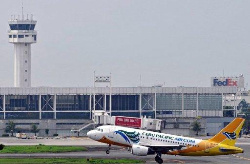 A Cebu Pacific plane taking off at the Ninoy Aquino International Airport (NAIA) in Manila