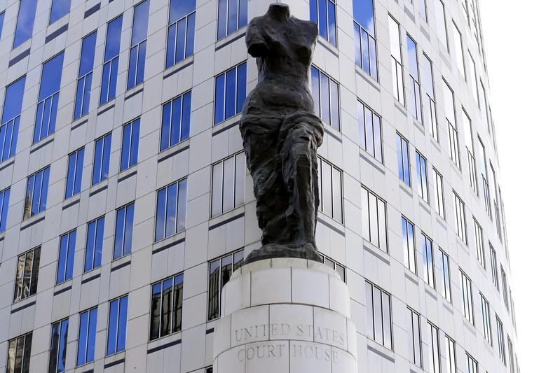 A view of the statue standing in front of the U.S. District Courthouse in Cleveland