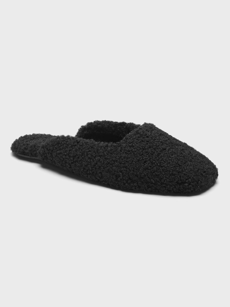<p>This <span>Banana Republic Sherpa Indoor Slipper</span> ($47) is so cozy and warm, it will easily become your go-to everyday slipper.</p>