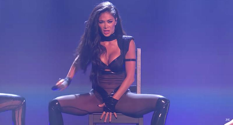 Nicole Scherzinger performs on the X Factor stage