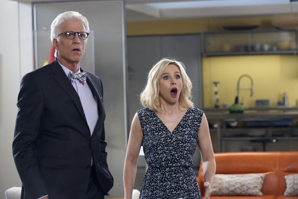 Ted Danson as Michael and Kristen Bell as Eleanor Shellstrop in The Good Place. (Vivian Zink/NBC)