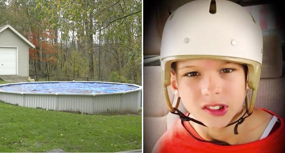 Severely autistic Samuel Koets (right) drowned in the backyard pool (left) at the family's home in Georgetown