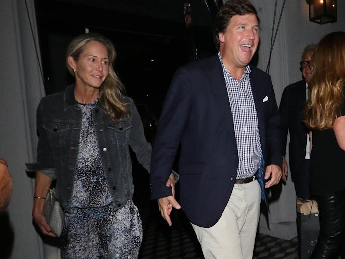 Tucker Carlson and wife Susie Andrews are seen leaving a restaurant in Los Angeles, California, on October 20, 2018.