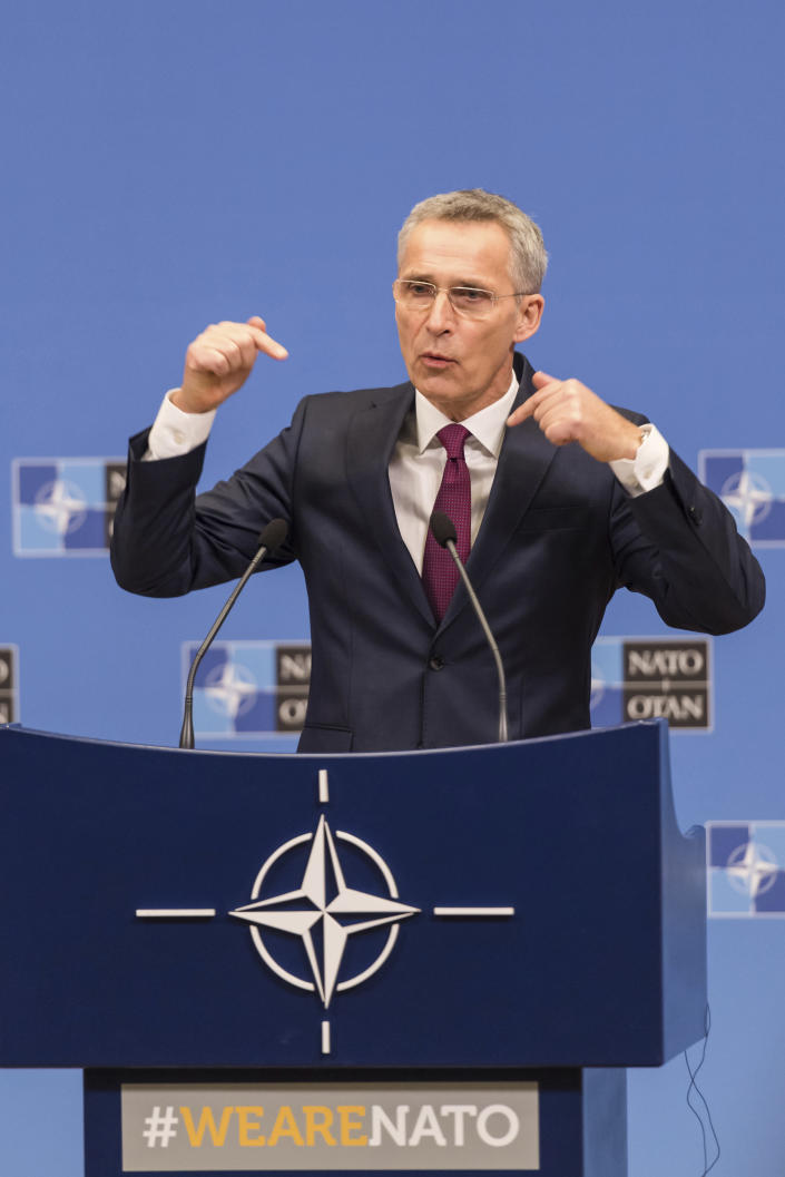NATO Secretary General Jens Stoltenberg presents the annual report for 2018 during a media conference at NATO headquarters in Brussels, Thursday, March 14, 2019. (AP Photo/Geert Vanden Wijngaert)