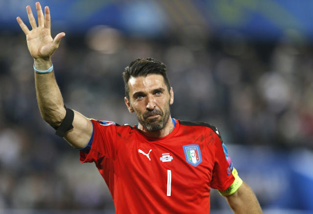 FILE - In this Saturday, July 2, 2016 file photo, Italy goalkeeper Gianluigi Buffon waves as he leaves the pitch after losing the Euro 2016 quarterfinal soccer match between Germany and Italy, at the Nouveau Stade in Bordeaux, France. Juventus captain Gianluigi Buffon has announced he is leaving the Italian club but the goalkeeper could continue playing elsewhere. Buffon, who is widely regarded as one of the best goalkeepers of all time, was expected to announce his retirement at a press conference at Allianz Stadium on Thursday, May 17, 2018. (AP Photo/Michael Probst, File )