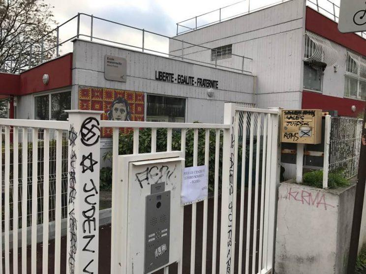 Juliette Timsit posted this image of the Anne Frank school defaced with anti-semitic grafitt in Montreuil, France on Dec. 25, 2016. (Juliette Timsit via Facebook)