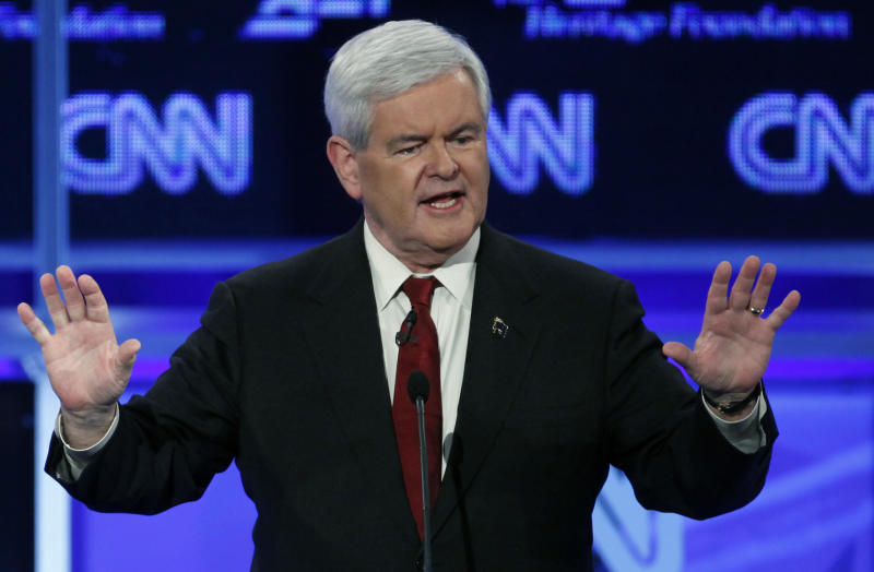 FILE - In this Nov. 22, 2011, file photo, Republican presidential candidate and former House Speaker Newt Gingrich speaks during the Republican presidential debate in Washington. Newt Gingrich landed editorial endorsement of NH Union Leader Sunday Nov. 27, 2011, 45 days before GOP primary.  (AP Photo/Evan Vucci, File)