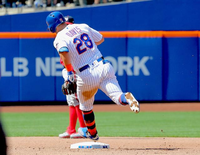 Apr 6, 2019; New York City, NY, USA; New York Mets third baseman J.D. Davis (28) rounds the bases after hitting a solo home run against the Washington Nationals during the fourth inning at Citi Field. Mandatory Credit: Andy Marlin-USA TODAY Sports