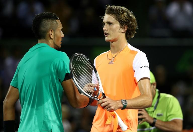Nick Kyrgios of Australia is congratulated by Alexander Zverev of Germany after his Miami Open quarter-final win, at Crandon Park Tennis Center in Key Biscayne, on March 30, 2017