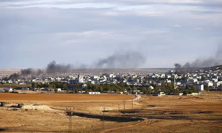 Smoke rises from the Syrian town of Kobani, seen from near the Mursitpinar crossing on the Turkish-Syrian border in the southeastern town of Suruc in Sanliurfa province, October 20, 2014. REUTERS/Kai Pfaffenbach