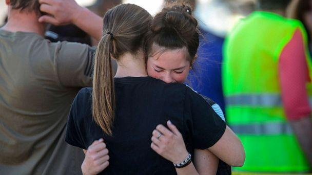 PHOTO: Students embrace after a school shooting at Rigby Middle School in Rigby, Idaho on Thursday, May 6, 2021. (John Roark/The Idaho Post-Register via AP)