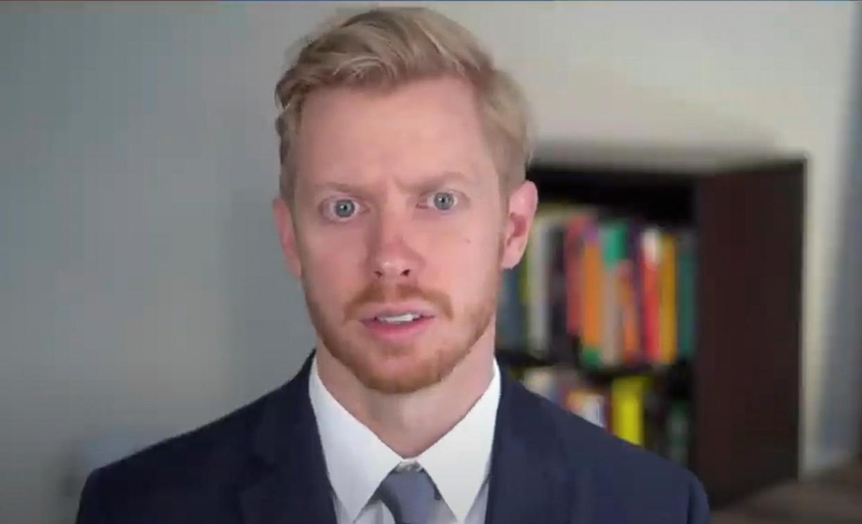"""Steve Huffman, CEO and Co-Founder of Reddit, is seen in a framegrab from live video as he testifies about stock trading and GameStop, during an entirely virtual hearing of the U.S. House of Representatives Committee on Financial Services entitled """"Game Stopped? Who Wins and Loses When Short Sellers, Social Media, and Retail Investors Collide?"""", in Washington, U.S., February 18, 2021.   House Committee on Financial Services/Handout via Reuters"""